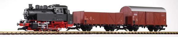 G-S-Set Güterzug BR 80 + zwei Güterwg. + Sound und Dampf DB III / piko 37120