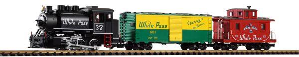 G-White Pass + Yukon Starter Set Boxcar, Caboose + Analog Sound / Piko 37106