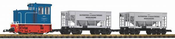 G-Start Set Werkbahn Diesellok GE 25T mit 2 Schüttgutwagen 230V / piko 37151