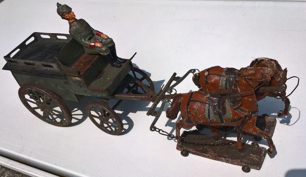 Protzenwagen Blechausführung mit Pferdegespann und Kutscher