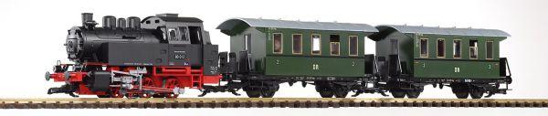 G-S-Set Personenzug BR 80 + zwei Personenwg. + Sound und Dampf DR III / piko 37125